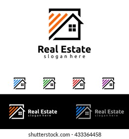 Real estate vector logo template, simple flat square house with line represented strong and modern real estate