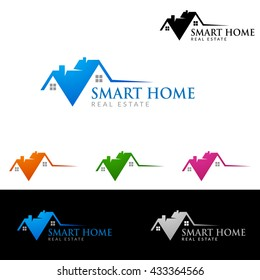 Real estate vector logo template, simple realty with line and roof represented strong and modern real estate