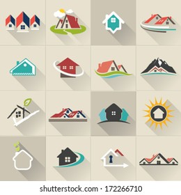 Real Estate web Icons set and vector logos