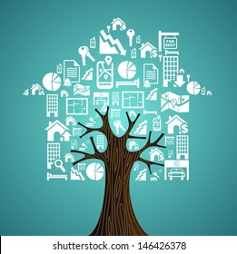 Real estate white icon set in house tree over blue background. Vector file layered for easy manipulation and custom coloring.