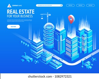 Ð¡ommercial real estate for your business. Choose criteria for office. Isometric vector illustation with buildings. Landing page template. Header for website.