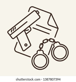 Real evidence line icon. Detention, crime, warrant. Justice concept. Vector illustration can be used for topics like law, crime, police