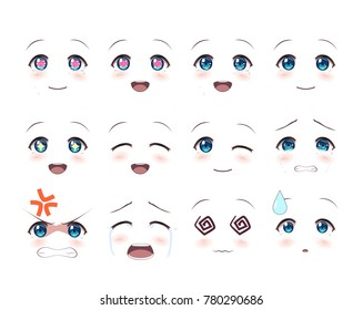 The real eyes of anime (manga) girls, in Japanese style. Set of various emotions