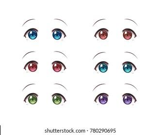The real eyes of anime (manga) girls, in Japanese style. Set of multicolored eyes on white background