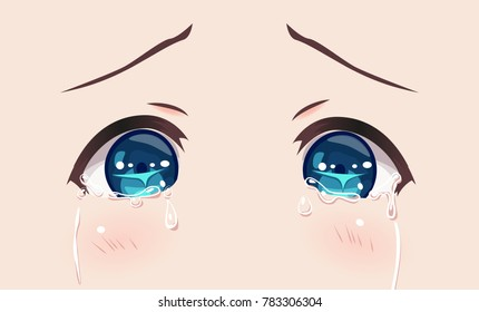 The real eyes of anime (manga) girls, in Japanese style. Cries in sorrow, greatly upset