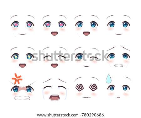 The Real Eyes Of Anime Manga Girls In Japanese Style Set