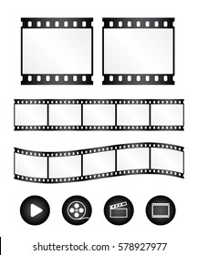 Real film strips with icon - waveform and straight strip. Insulated windows - you can create variable long straight filmstrip.Black.  Vector - eps 10.