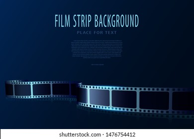Real film strips in waveform. Cinema vector poster design template. 3d flyer or poster festival isolated on blue background. Movie time background. Cinematography concept of film industry.