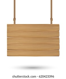 real hanging wood board sign on a white background