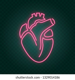 real heart neon sign, illustration in vector format