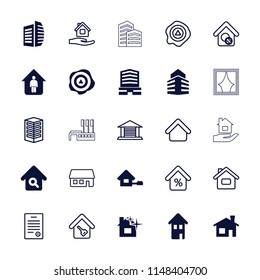 Real icon. collection of 25 real filled and outline icons such as house building, business center, home, home search, building. editable real icons for web and mobile.