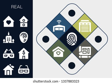 real icon set. 13 filled real icons.  Simple modern icons about  - Fingerprint, House, 3d glasses, Skyscrapper, Home, Garage, Blueprint