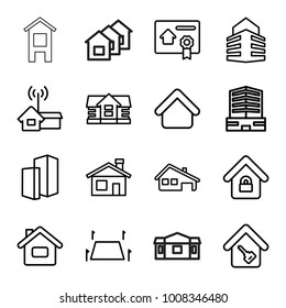 Real icons. set of 16 editable outline real icons such as house building, house, business center, home, home key, land territory, building