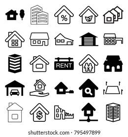 Real icons. set of 25 editable filled and outline real icons such as house and tree, building, house building, home search, rent tag, garage, home, land territory, mortgage