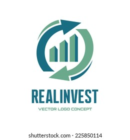 Real Invest - vector logo template concept. Economic finance investment sign. Business symbol. Arrows recycle and infographic bar. Design element.