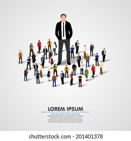 The Real Leader - Business Man in crowd