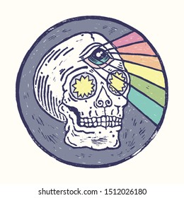 Real linocut hand made print. Skull with third eye in round frame. Vector psychedelic vintage style illustration for t-shirt, card, sticker and poster design