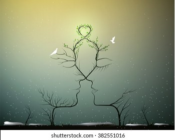 real love never change, sense of love, couple of people look like tree branches silhouettes with green heart and two pigeons in cold winter around, marriage concept, vector
