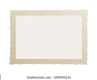 Real one brown frame of old photography. Vintage wavy edge. Place for your photo. Isolated on a white background. Vector Eps 10.