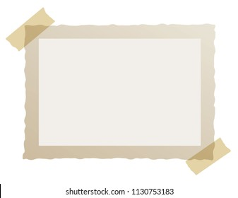 Real one brown frame of old photo with adhesive tapes. Vintage wavy edge. Place for your photo. Isolated on a white background. Vector Eps 10.