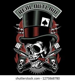 Real Outlaw Skull  Tshirt Design