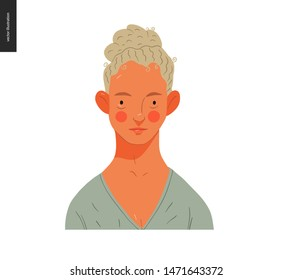 Real people portrait - hand drawn flat style vector design concept illustration of a young blond curly-headed woman, face and shoulders avatar. Flat style vector icon