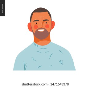 Real people portrait - hand drawn flat style vector design concept illustration of a young brunette man, face and shoulders avatar. Flat style vector icon
