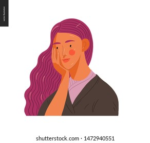Real people portrait - hand drawn flat style vector design concept illustration of a young purple-haired woman, face and shoulders avatar. Flat style vector icon