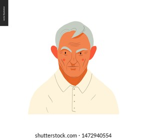 Real people portrait - hand drawn flat style vector design concept illustration of a grey-haired man, face and shoulders avatar. Flat style vector icon