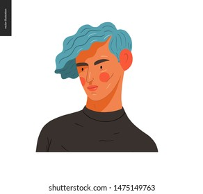 Real people portrait - hand drawn flat style vector design concept illustration of a young blue-haired blond man, face and shoulders avatar. Flat style vector icon