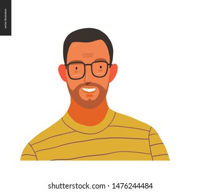 Real people portrait - hand drawn flat style vector design concept illustration of a young brunette man wearing glasses, face and shoulders avatar. Flat style vector icon