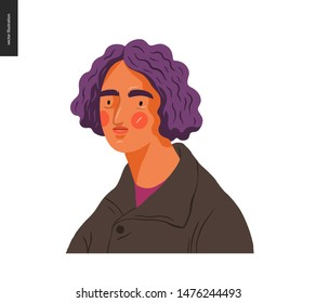 Real people portrait - hand drawn flat style vector design concept illustration of a young brunette purple-haired man, face and shoulders avatar. Flat style vector icon
