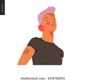 Real people portrait - hand drawn flat style vector design concept illustration of a young pink-haired blond woman, face and shoulders avatar. Flat style vector icon