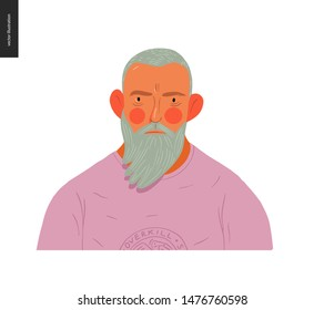 Real people portrait - hand drawn flat style vector design concept illustration of a blond bearded man, face and shoulders avatar. Flat style vector icon