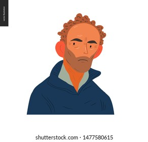 Real people portrait - hand drawn flat style vector design concept illustration of an adult brown-haired man, face and shoulders avatar. Flat style vector icon