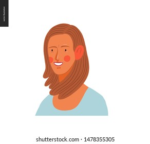 Real people portrait - hand drawn flat style vector design concept illustration of a young dark blond woman, face and shoulders avatar. Flat style vector icon