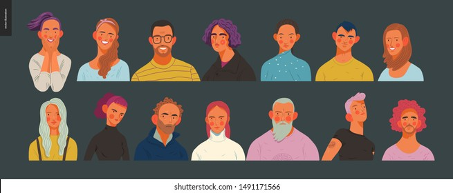 Real people portraits set - hand drawn flat style vector design concept illustration of men and women, male and female faces and shoulders avatars. Flat style vector icons set