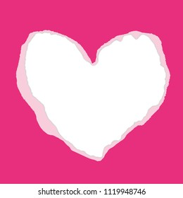 Real pink torn heart-shaped paper. Inside white paper - place for your text. Vector background. Use for Mother's Day, Valentine's Day, Advertising for Women, etc. Eps 10