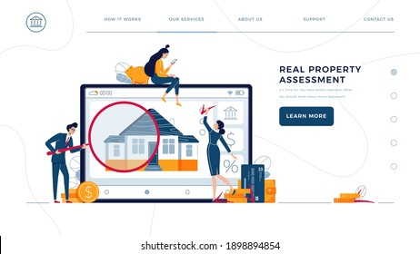 Real property assessment homepage template. Appraisers are doing property inspection of a house. Real estate valuation, home value, professional appraisal concept for web. Flat vector illustration