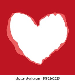 Real red torn heart-shaped paper. Inside white paper - place for your text. Vector background. Use for Mother's Day, Valentine's Day, Advertising for Women, etc. Eps 10