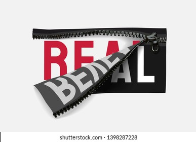 real reveal slogan in zipper illustration