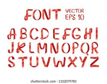 Real ribbon font .Vector of ribbon font.