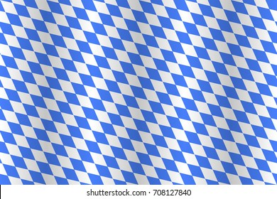 Real seamless fabric of State flag of Bavaria. Lozenges and edges of a texture are truly aligned. Exactly appropriate official heraldic blue. Turn off a shadow of waving if you need the flat pattern.