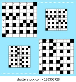 Real size crossword puzzle grids with corresponding answer grids ( for high res JPEG or TIFF with white background see image 128308931 )