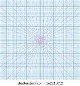 Real size vector blue perspective grids millimeter engineering paper