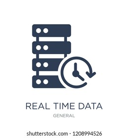 real time data icon. Trendy flat vector real time data icon on white background from General collection, vector illustration can be use for web and mobile, eps10