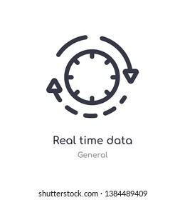 real time data outline icon. isolated line vector illustration from general collection. editable thin stroke real time data icon on white background