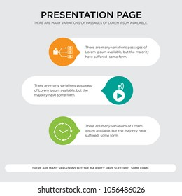 real time, livestream, program management presentation design template in orange, green, yellow colors with horizontal and rounded shapes, pixel perfect icons