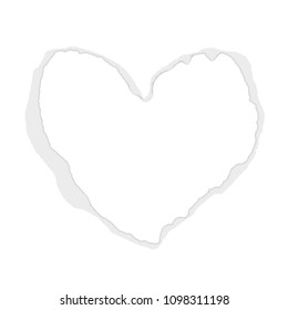 Real torn heart - shaped paper. White paper. Inside place for your text. Vector background. Use for Mother's Day, Valentine's Day, Advertising for Women, etc. Eps 10