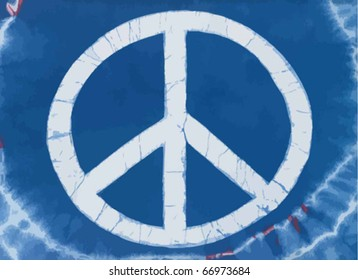 Real tye dye Peace Symbol on cotton knit material. Vector.
